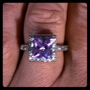 Sterling Silver Purple Crystal And CZ Ring  Size 8